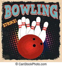 bowling, retro, affisch