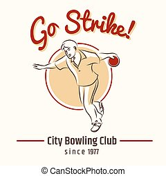 Bowling retro poster