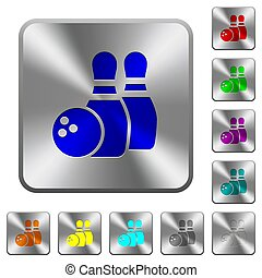 Bowling rounded square steel buttons