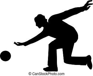 bowling, silhouette, man