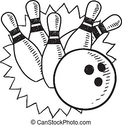 Bowling sketch - Doodle style bowling sketch in vector...