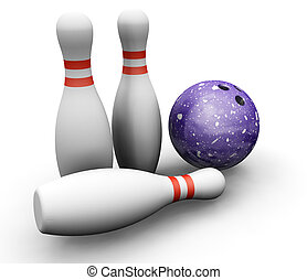Bowling skittles and ball - 3D render of bowling skittles...