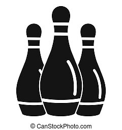 Bowling skittles icon, simple style