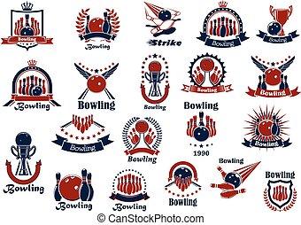 bowling, spel, en, club, retro, symbolen
