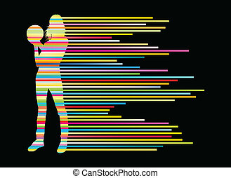 bowling, speler, silhouettes, vector, achtergrond, concept