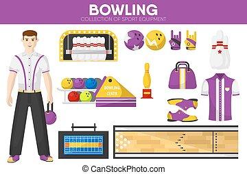 Bowling sport equipment bowler player garment accessory vector flat icons set