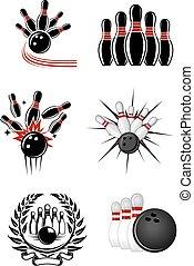 bowling, sporten, emblems, en, symbolen
