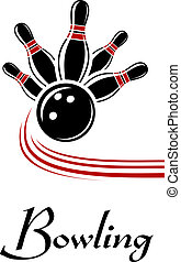 Bowling sports symbol with flying ball and pins, text below