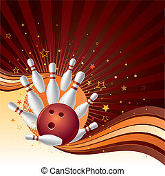 bowling strike background - vector illustration of a bowling...