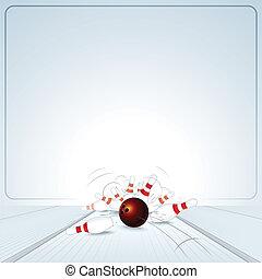 Bowling Strike. Ball Crashing into the Skittles