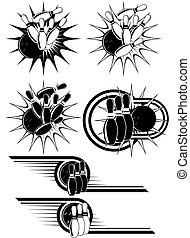 Black And White Bowling clipart styled as emblems