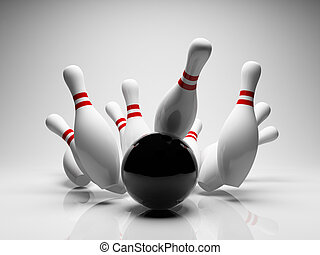Bowling strike - Bowling ball strike shot into the pins