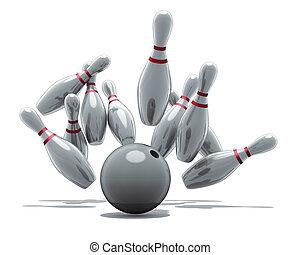 bowling strike - 3D rendering, bowling strike