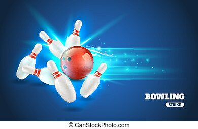 Bowling Strike Illustration - Bowling strike with ball and...