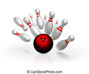 Bowling strike illustration isolated on white background