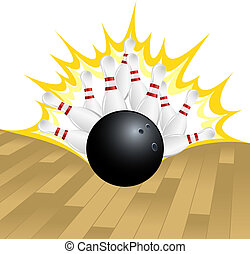 Bowling Strike - illustration of a bowling ball smashing...