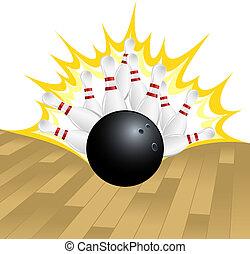 illustration of a bowling ball smashing pins.