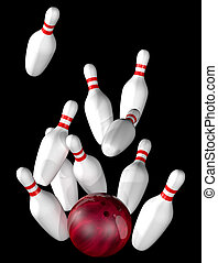 Illustration of bowling alley strike isolated on black