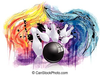 bowling strike. ninepins and ball on abstract grunge background