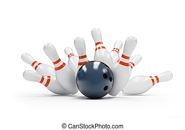 bowling strike on a white background