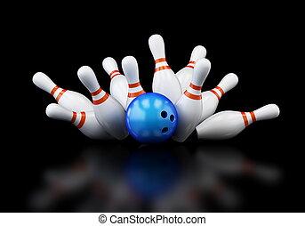 bowling strike on black background