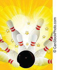 bowling strike on starburst background