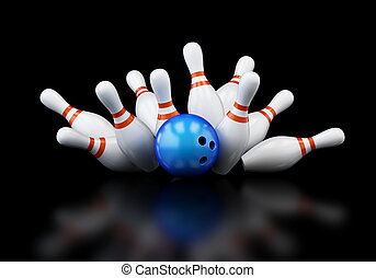 bowling strike on black background