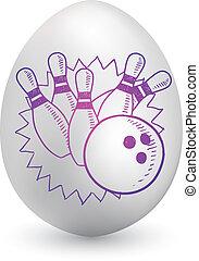 bowling, su, uovo di pasqua