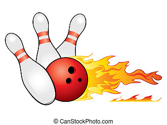 Bowling symbol - Red bowling ball crashing into the pins