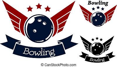 bowling, symbolen, met, vleugels
