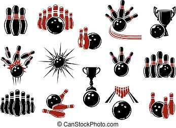Bowling symbols with equipment and decorative elements