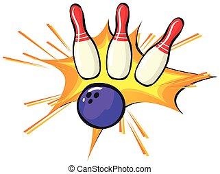 bowling szpilki, i, piłka, na białym, tło
