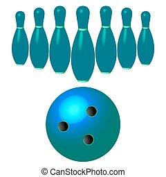 bowling szpilki, i, piłka, odizolowany, na białym