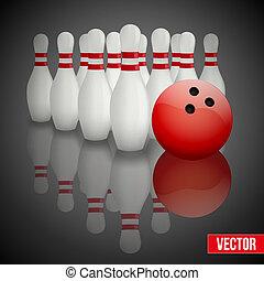 bowling szpilki, i, piłka, z, odbicie