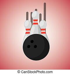 bowling szpilki, i, piłka, zamazana farba, tło