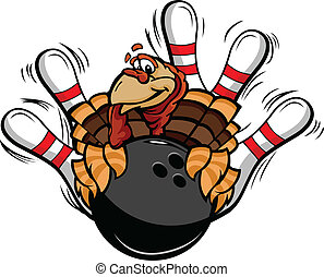Bowling Thanksgiving Holiday Turkey Cartoon Vector...