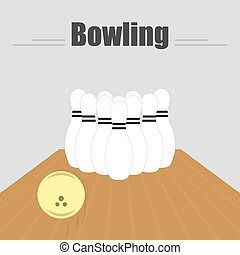Bowling. The track with a sliding ball and skittles