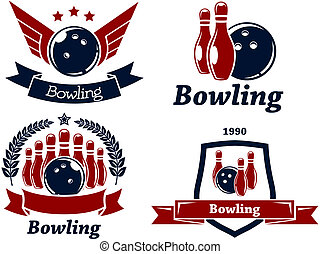 Bowling themed emblems and icons in red and navy blue with...
