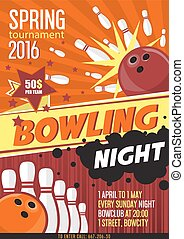 Bowling Tournament Poster Template. Design with Bowling Ball...