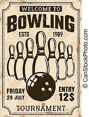 Bowling tournament vector poster in vintage style