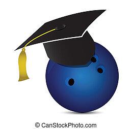 Bowling training school illustration design over white