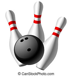 Vector illustration of a bowling pins