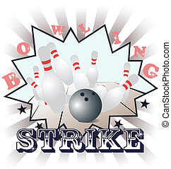 Bowling, vector illustration - Vector illustration of...
