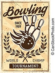 Bowling vintage poster with burning ball, skittles