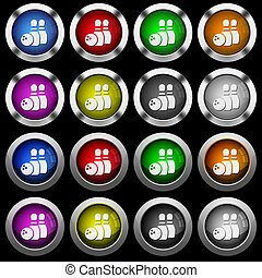 Bowling white icons in round glossy buttons on black background