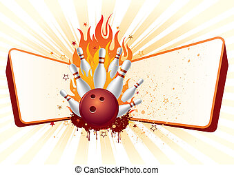 bowling with flames - bowling, flames, design element