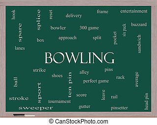 Bowling Word Cloud Concept on a Blackboard