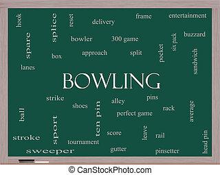 Bowling Word Cloud Concept on a Blackboard