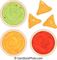 Bowls of avocado guacamole dip, tomato salsa, cheese sauce and nachos chips. Top view. Vector illustration