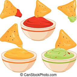 Bowls of avocado guacamole dip, tomato salsa, cheese sauce and nachos chips. Vector illustration